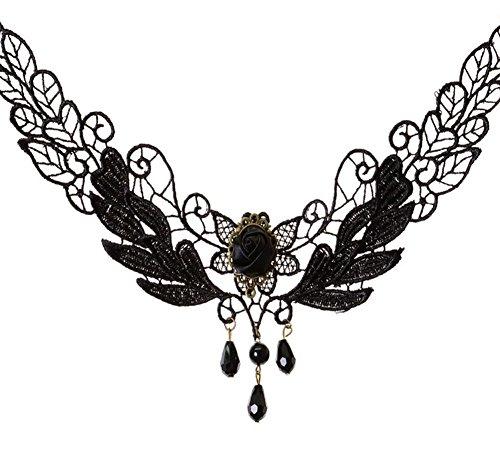 youkara Collier für Teen Mädchen Frauen Herz Drop Anhänger Lace Perle Anhänger Gothic Schmuck Halskette Samt Länge verstellbar