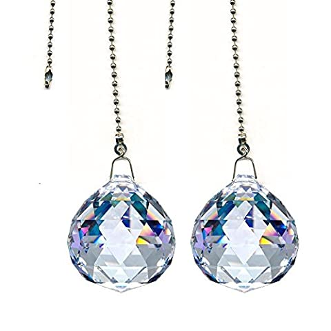 ColorMax Magnificent Crystal 30mm Clear Crystal Ball Prism 4 Pieces Dazzling Crystal Ceiling FAN Pull Chains by Colormax