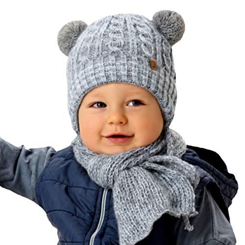 AJS weiche warme Baby Jungen Set Winterset Mütze Wintermütze Strickmütze Bommelmütze Kindermütze gefüttert Schal mit Wolle Farbe Grau -