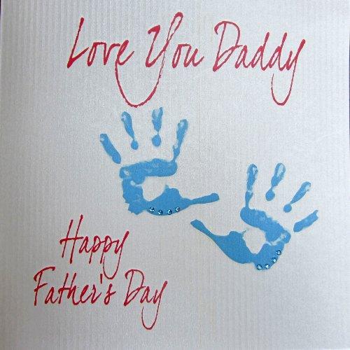 Bianco cards cotone - biglietto di auguri festa del papà (fatto a mano), impronte di mani disegno