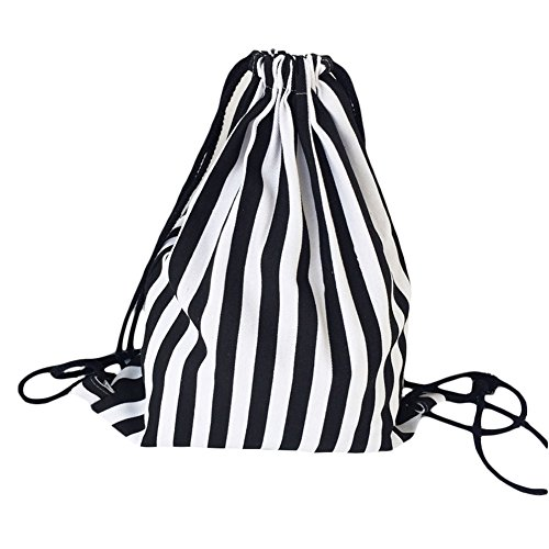 LAAT Segeltuch Schulter Beutel Drawstring Rucksack Schwarzweiss Streifen (Weiß-schwarz-kleidung Zu Speichern)