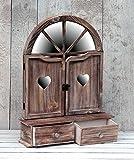 amadeco Aussergewöhnlicher Wandschrank Hängeschrank Küchenschrank Spiegelschrank Badspiegel Spiegel Wandregal und 2 Schubladen Braun Landhaus Vintage - 50x65,5cm