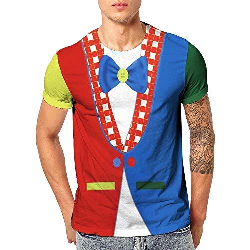 Herren Druck T-Shirt Falscher Anzug Gedruckt Shirts Smoking Krawatte Pullover Rundhals Kurzarmshirt Slim Fit Kostüm Fake Suit Tie für Männer Geschenk - Fake-krawatte