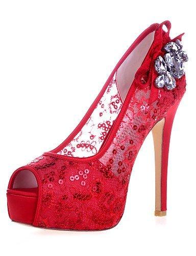 ShangYi Damenschuhe - Sandalen - Hochzeit / Party & Festivität - Spitze - Stöckelabsatz - Zehenfrei -Schwarz / Blau / Rosa / Rot / Elfenbein / Red