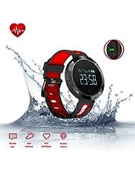 Fitness Armband, Smart Armband Aktivitätstracker mit Pulsuhren, Blut Druck Monitor, Schlaf Monitor, Bluetooth Wireless Wristband mit Schrittzähler/Kalorie Zähler/Anrufwarnung, Wasserdicht Sport Armbanduhr Smart band für Android iPhone