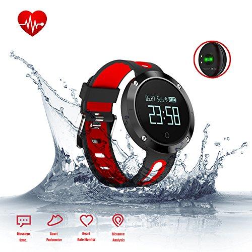 Fitness Armband, Smart Armband Aktivitätstracker mit Pulsuhren, Blut Druck Monitor, Schlaf Monitor, Bluetooth Wireless Wristband mit Schrittzähler/Kalorie Zähler/Anrufwarnung, Wasserdicht Sport Armbanduhr Smart band für Android iPhone (schwarz+rote)