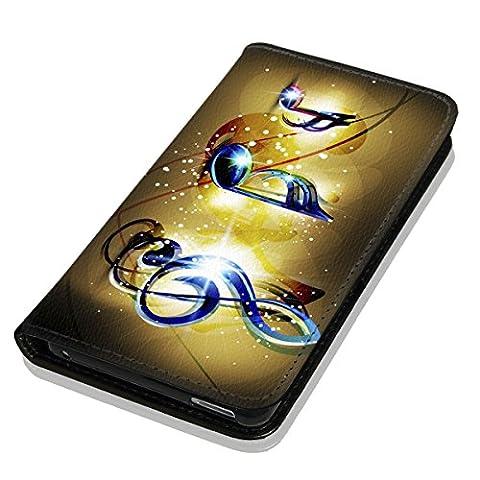 Hülle Galaxy J1 2016 Hülle Samsung J1 J120 Schutzhülle Handyhülle Flip Cover Case Samsung Galaxy J1 2016 J120 (OM1065 Musik Noten Blau Gelb)