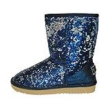 Unbekannt Damen Boots Winterfellstiefel Winterboots Schlupfstiefel gefüttert Pailletten Blau C5006 (38)