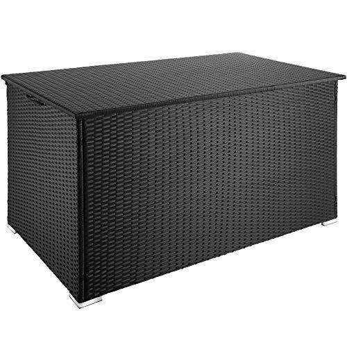 TecTake 800715 Coffre de Jardin de Rangement extérieur 950 L en Résine tressée, Cadre en Aluminium, 145 x 82,5 x 79,5 cm - Plusieurs Coloris - (Noir | no. 403274)