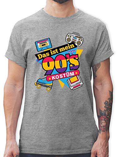 Karneval & Fasching - Das ist Mein 90er Jahre Kostüm - M - Grau meliert - L190 - Herren T-Shirt und Männer Tshirt (Herr Grau Kostüm)
