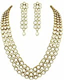 #8: Shining Diva Gold Plated Traditional Jewellery Kundan Pearl Necklace Set with Earrings For Women (White) (rrsd6706s)