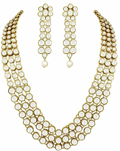 Shining Diva Traditional Jewellery Kundan Pearl Necklace Set with Earrings For Women