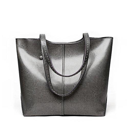 ZPFME Damen Handtasche Weiches Leder Leder Große Kapazität Damen Handtaschen Mädchen Party Retro Damen Mode Schultertasche Messenger Bag Gray