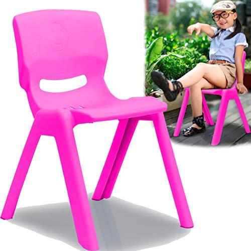 Kinderstuhl mit Rückenlehne bis 100kg belastbar stapelbar und kippsicher Indoor und Outdoor geeignet (aus Kunststoff) (Pink)