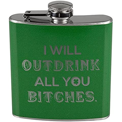 St. Patricks Day I Will Outdrink All You Bitches-Thermos in acciaio INOX, colore: verde