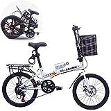 FJW Unisex Faltrad 20 Zoll 7 Geschwindigkeit Leichte Scheibe Doppelscheibenbremse Aluminiumlegierung Speichenrad Student Kind Pendlerstadt Fahrrad mit Korb und Flaschenhalter,White