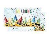 Friendly Fox Einladung Party Emoji - 12er Set Smiley Einladungskarten Geburtstag Kinder Junge Mädchen - Einladung Kindergeburtstag - Partyeinladung Smiley - inkl. passende Umschläge