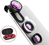 Fisheye Lens, 【Lenses+Gift Box】VicTsing® 3 in 1 Clip-On Phone Camera Lens Kit, 24X Super Macro Lens + 12X Macro Lens + 180° Fisheye Lens, Professional HD Camera Lenses Set for iPhone Huawei Samsung HTC and Other Smartphones