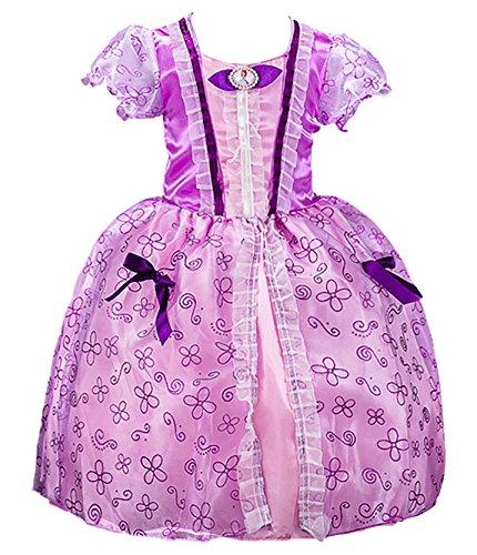 (FStory&Winyee Mädchen Kostüm Prinzessin Kleid Sofia Kostüm Lila Kinder Märchen Cosplay Kleid Karneval Party Verkleidung Rollenspiel Weihnachten Halloween Fest)