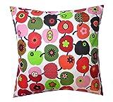 TryPinky Kissenhülle 35 X 35 cm Apfel Rot Grün Hellgrün Orange Äpfel Kissenbezug für Kissen 100 % Baumwolle BW Frühling Sommer Zierkissen Zierkissenhülle Zierkissenbezug