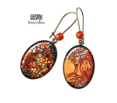 Boucles d'oreilles Les Serpents d'Eau cabochon bronze orange Gustave Klimt reproduction femme