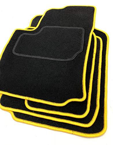 Bluesport Exzellente Fußmatten Automatten Teppiche aus Velours in schwarz und gelb (Overlock)