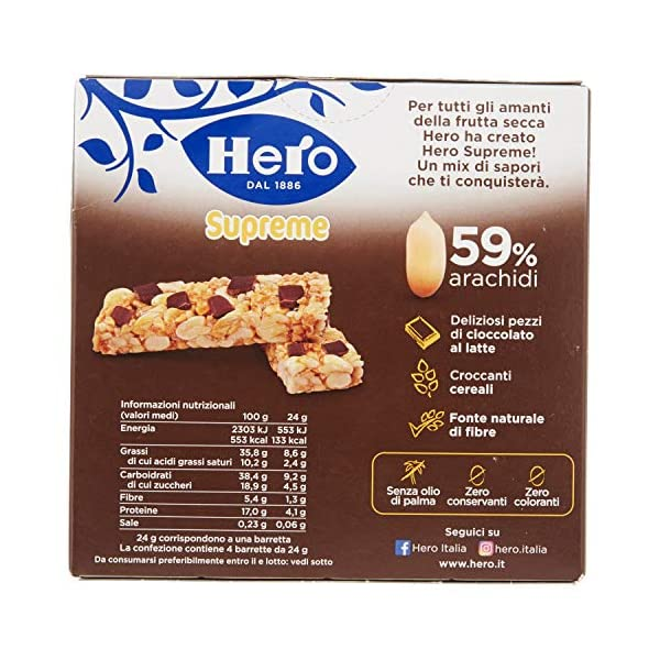 Barrette ai cereali Supreme Arachidi e Cioccolato Latte Confezione 4 X 24 g 3 spesavip