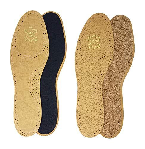 Green-Feet 2 Paar echte Leder Einlegesohle-n Basic Einlage-n braun Damen Herren Gr.36-48 (Aktivkohle, 38 EU)