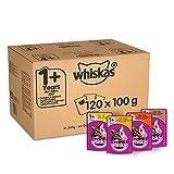 Whiskas comida para gatos adultos, selección de aves de curral jugosa en gelatina, 1 +, sobres 120 (120 x 100 g)
