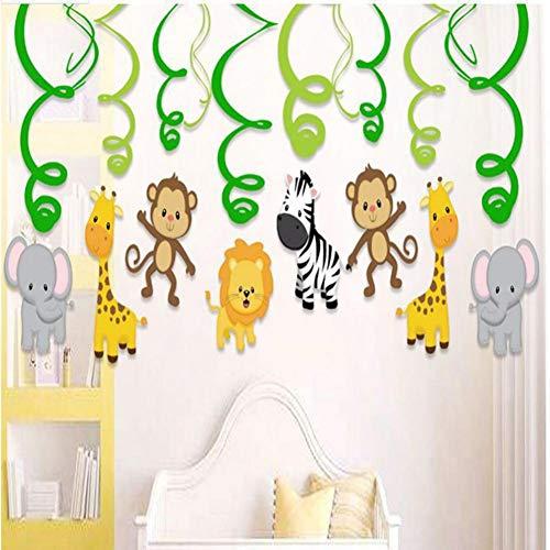 VIOYO Etiqueta de la pared Decoraciones de fiesta con temática animal Colgante en espiral Colgante de dibujos animados Fiesta de cumpleaños