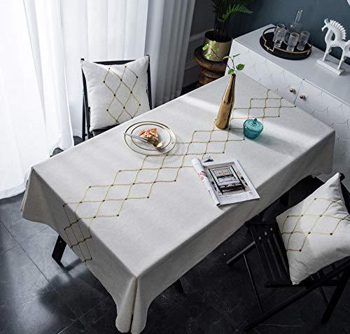 ZHAOCC Tischdecke Tischdecke Rechteckige Tischdecke Restauranttuch Staubtuch Picknick Party Polyester Bestickt Diamant Geometrie Gold Tischset Heimtextilien (Tischsets Zum Verkauf)
