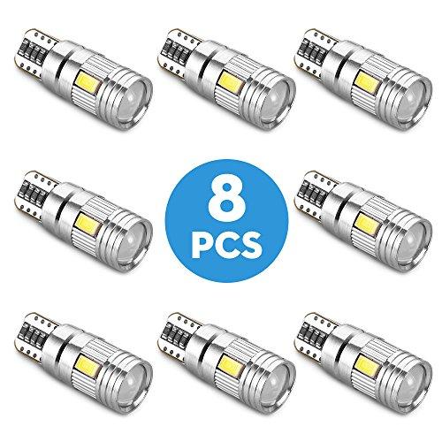 8 Packs Voiture T10 Ampoules LED, AOZBZ SMD Super Lumineux Coin de Voiture Feux de Lecture de la Lumière de la Largeur des Lampes