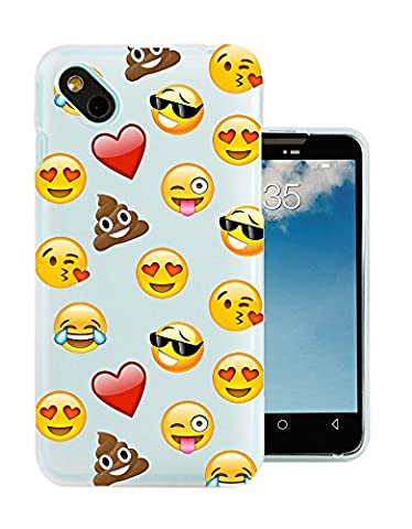C0933 - Smiley Emoji Funny Heart Love Sunglasses Shit Poop Laughter Icon App Design Wiko Sunny / Wiko B-Kool Fashion Trend Protecteur Coque Gel Rubber Silicone protection Case