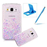 Coque Galaxy Core Prime SM-G360 Rigide, Herzzer Transparent Bling Paillettes Étoiles Case 3D Flottant Liquide Sables Housse Etui Ultra Slim Protection Shell Couverture pour Samsung Galaxy Core Prime SM-G360 (Rose et Bleu)