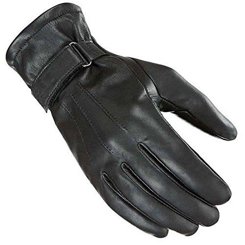 newfacelook Damen Motorrad Handschuhe Leder Fashion Touch Screen Kompatibel, L, Schwarz