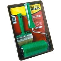 FFJ - Set composto da rullo, telaio rullo, pennello e vaschetta per la pittura di superfici in legno
