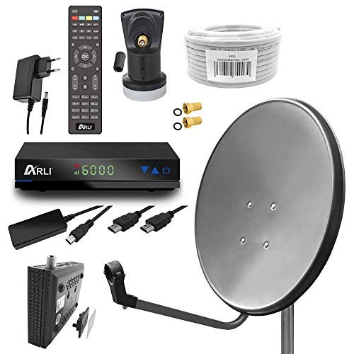 Digital Camping Sat Anlage 60 cm Spiegel inkl. ARLI AH1 HD Receiver + Single LNB + 10m Kabel (dunkelgrau / anthrazit)