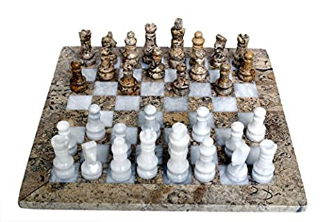 RADICAL Handmade Fossil Coral and White Marble Full Chess Game