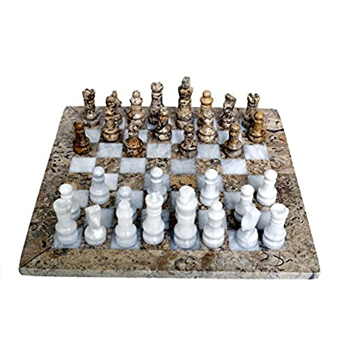 Delightful RADICALn Handmade Game Fossil Coral And White Marble Chess Game Marble Chess  Set For Him