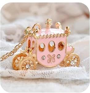 Lingstar(TM) Lovely pink princess Pumpkin car girl's dream necklace