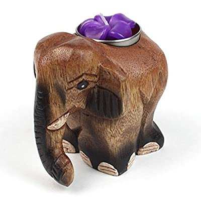 Fair Trade Hand Crafted Wooden Elephant Tealight / Candle Holder by Siesta