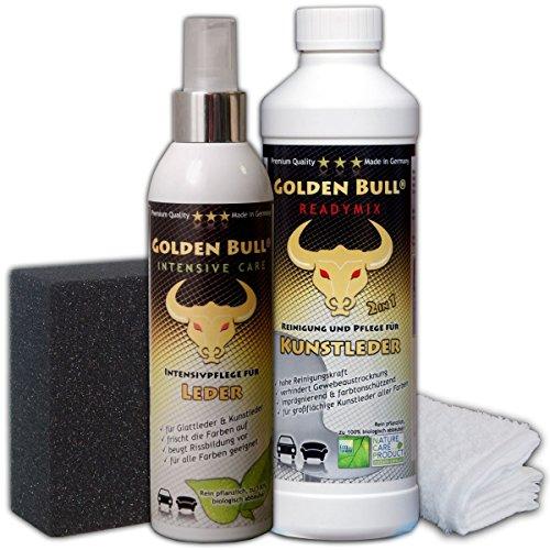 GOLDEN BULL® für KUNSTLEDER Set 4-teilig, READYMIX 500ml (Kunstlederreiniger, Kunstlederpflege) + INTENSIVE CARE 250ml (Intensivpflege) + Spezialschwamm + Baumwolltuch, biologisch ökologisch