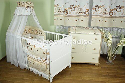 Baby Bettwäsche Set Eule New Design (9 tlg, Braun)