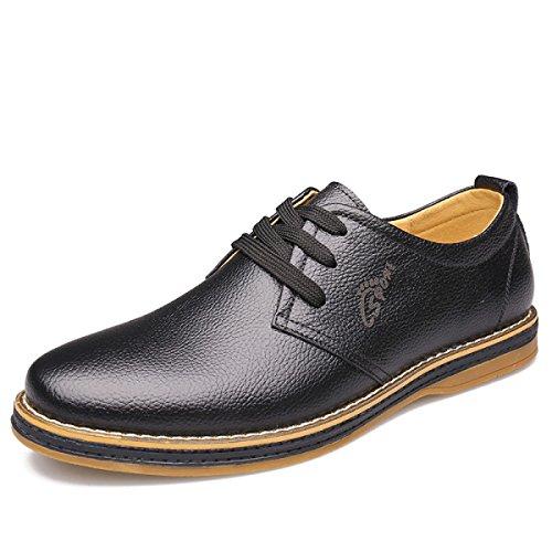 GRRONG Chaussures En Cuir Pour Hommes Loisirs En Cuir Véritable Noir Brun Black