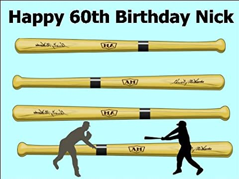 A4 Vintage Wooden Baseball Bat Cake Toppers Personalised and Decorated on Edible Wafer Rice Paper - [Please use the 'Contact Seller' link to send us your personalised message for your topper.]