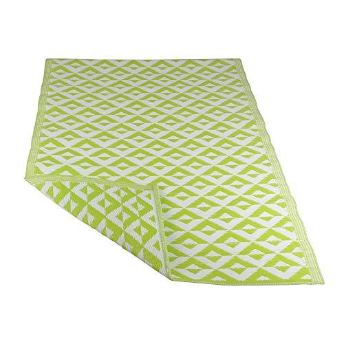 RM Design In- & Outdoor Teppich für Terrasse/Balkon Grün Rautenmuster Muster 120 x 180 cm