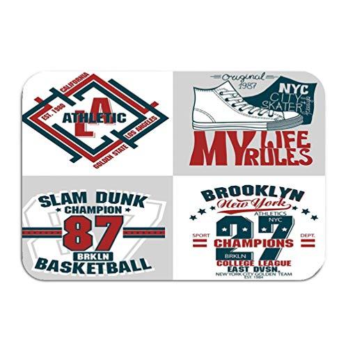 Uosliks Teppich Teppich Fußmatte Sport Stempel Grafik Set Verschleiß Typografie Emblem Vintage Athletic Apparel Design Print 16 * 24 Zoll -