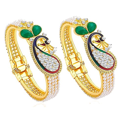 Zeneme Dancing Peacock Antique Gold Plated Bangle set for women  available at amazon for Rs.279