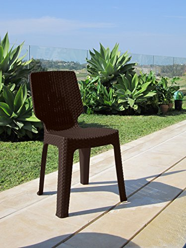 Keter - Silla de jardín exterior T-chair. Color marrón
