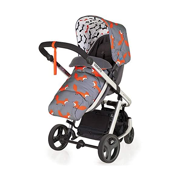 Cosatto Hold Mix Carseat Mister Fox Cosatto Includes - Pram & Pushchair, Hold Car seat, Adaptors, Apron and Raincover Suitable from birth up to 15kg, One unit transforms from newborn pram mode into pushchair mode. Space saving. No need to buy separates. 'In or out' facing pushchair seat lets them bond with you or enjoy the view. 4